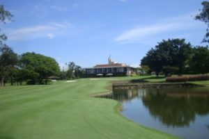 The clubhouse of the Sao Paulo golf club.