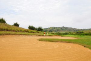 Bunker of the course of the Buzios golf club.