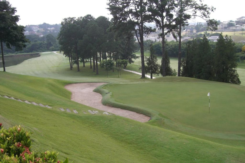 Final hole of the golf course of the Sao Ferando golf club in Cotia.