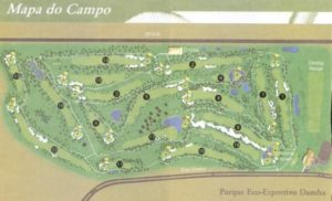Map of the course of the Damha golf club in Sao Carlos.