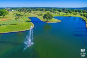 View on the lake of the course of the Iguassu Falls Wish Ressort golf club.