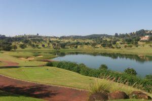 Short Par 3 of the golf course of the Fazenda da Grama Country golf club in Itapeva.