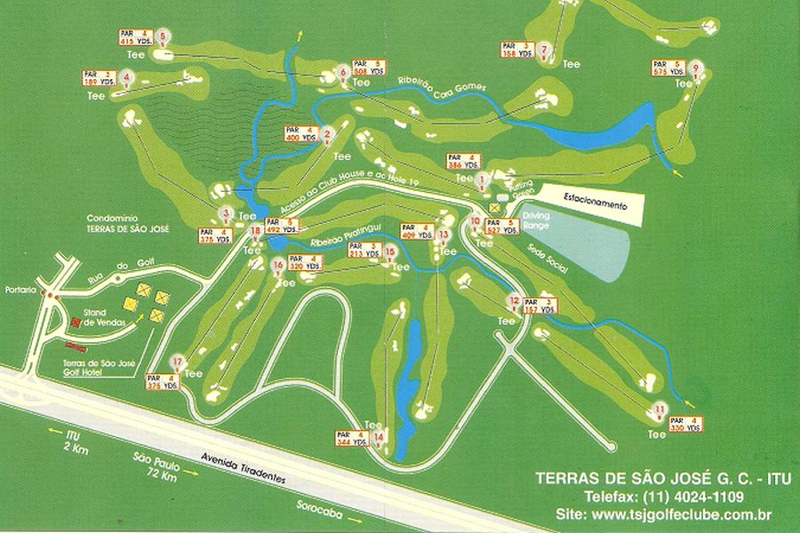 Map of the golf course of the Terras do Sao Jose golf club in Itu.