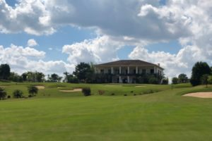 View on the club house of the Fazenda da Grama Country golf club in Itupeva.