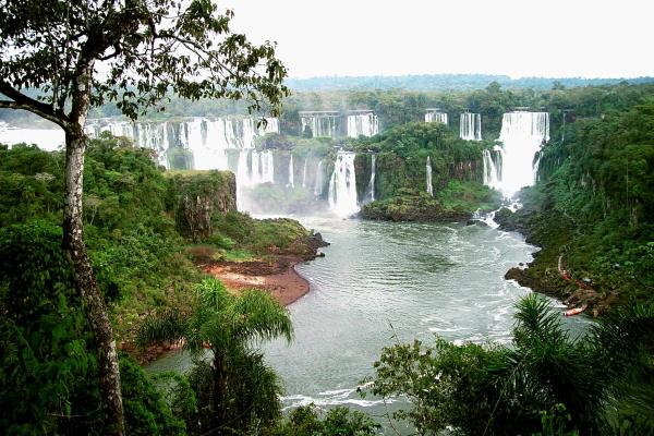 View at the Iguassu waterfalls from the Brazialn side in the state of Parana