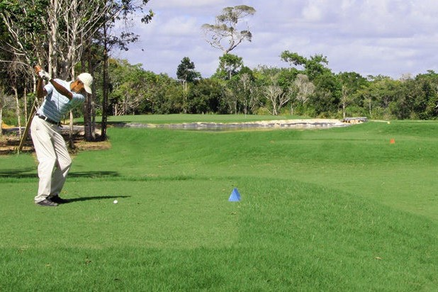 View on the course of the Pousada Outeiro golf club in Trancoso in the state of Bahia.