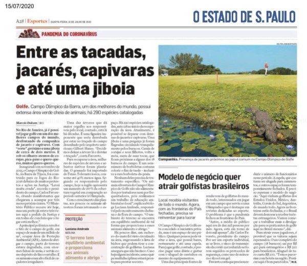 report at the Estado de Sao Paulo about the Olympic Golf Course Rio de Janeiro