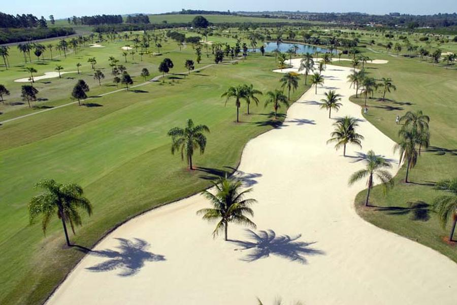 Bunker and fairway of the gold course of the Damha golf club in Sao Carlos.