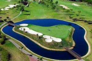 Island green of the golf course of the Damha golf club in Sao Carlos.
