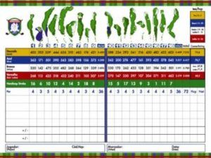 Scorecard of the golf course of the Terravista golf club in Trancoso.