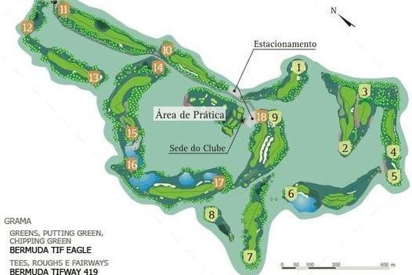 Map of the golf course of the Vista Verde golf club.